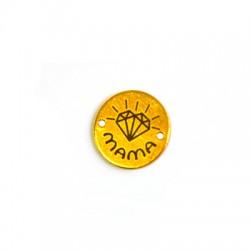 Brass Round Charm 15x1mm Diamond(Ø 1,2mm)