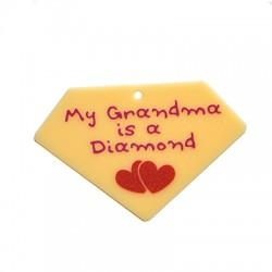 "Plexi Acrylic Pendant Diamond ""My Grandma"" 59x40mm"