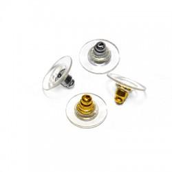 Cierre de Silicona y Metal Laton Seguridad  para Pendientes 11mm
