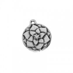 Colgante de Metal Zamak Redondo Flor 18mm
