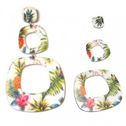 Colgante de Metacrilato Floral 76x45mm (set 3 pcs)