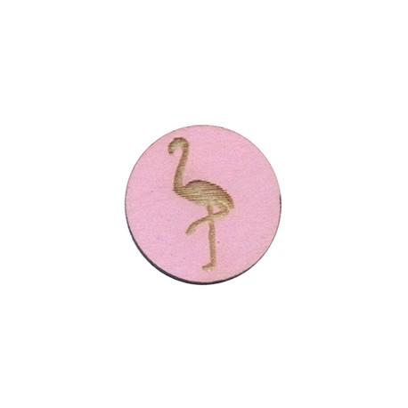 Cabujón de Madera Redondo con Flamingo 15mm