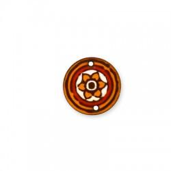 Conector de Madera Pintado Redondo Flor 25mm