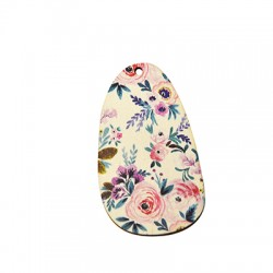 Colgante de Madera Oval Floral 34x60mm