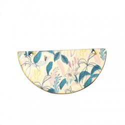 Colgante de Madera Semicirculo Floral 73x37mm