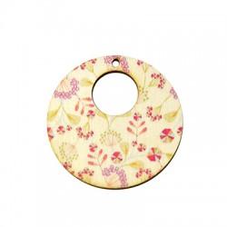 Colgante de Madera Redondo Floral 45mm