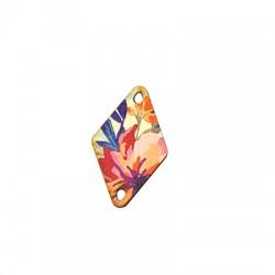 Colgante de Madera Rombo Floral 19x30mm