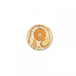 Conector de Madera Redondo Floral 27mm