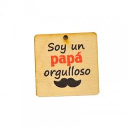 "Colgante de Madera ""Soy un papa orgulloso"" 40mm"