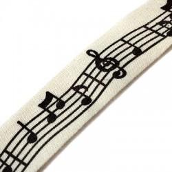 Cinta de Algodón con Notas Musicales 15mm(~9.5mtr/rollo)