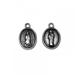 Colgante de Metal Zamak Oval Virgen/Jesus 11x14mm