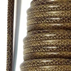 Cordón de Cuero Artificial Redondo Cosido Efecto Sepriente 6mm (5mtr/rollo)