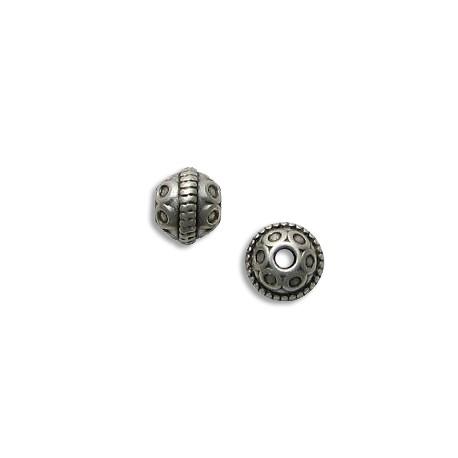 Entrepieza de Metal Zamak Bola Decorada 10mm (Ø 2.4mm)