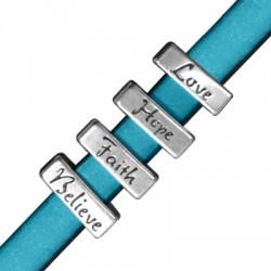 Pasador de Metal Zamak Rectangular 16x6mm (Ø 10.2x2.2mm) 4 Palabras Surtidas