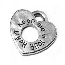 "Colgante de Metal Zamak Corazón con frase ""KEEP ME IN YOUR HEART"" 21mm (grosor 2.8mm)"