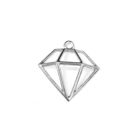 Colgante de Metal Zamak Diamante 26x21mm