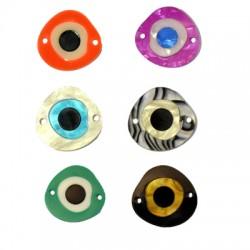 Colgante/Conector de Metacrilato Irregular con Ojo de Suerte 22x21mm