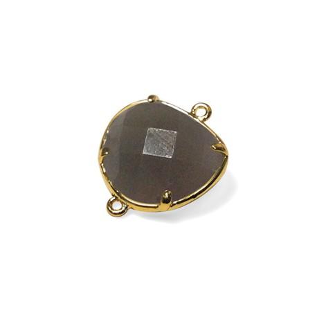 Conector de Vidrio Irregular y Facetado 15x16mm Engarzado en Latón