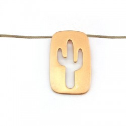 Colgante de Metal Latón Rectangular con Cactus 15x25mm