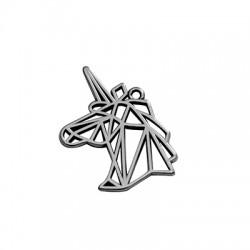 Colgante de Metal Zamak Unicornio Origami 20x29mm