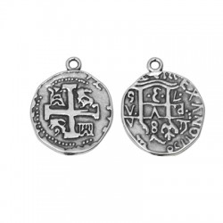 Colgante de Metal Zamak Moneda con Cruz 25x27mm