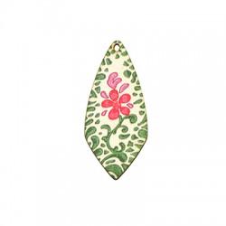 Colgante de Madera con Flores 22x50mm