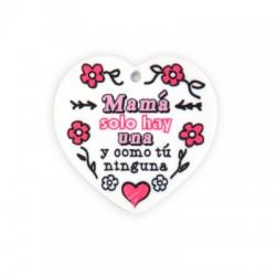 Colgante de Metacrilato Corazón con Frase para Mama 41x40mm
