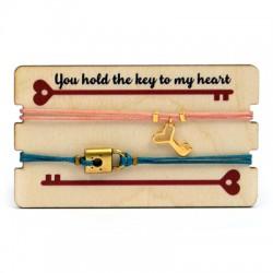 Pulseras Link&Love con Lave/Candado con Portapulsera de madera