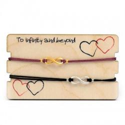 Pulseras Link&Love con Infitito con Portapulsera de madera