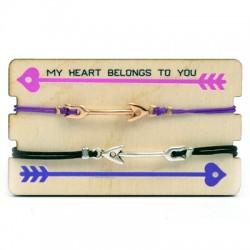 Pulseras Link&Love con Flecha con Portapulsera de madera