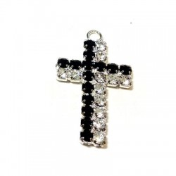 Colgante Cruz con Strass 15x27mm