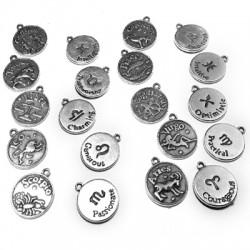 Colgante de Metal Zamak Monedas de Signos de Zodiaco 17mm (12 signos surtidos)