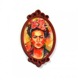 Colgante de Madera pintada Mujer 37x61mm