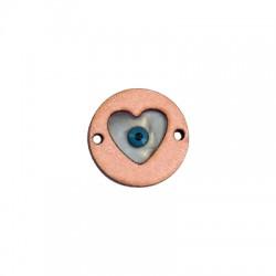 Conector de Madera y Plexiacrílico Redondo con Corazón y Ojo de Suerte 20mm