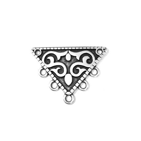 Accesorio de Collar de Metal Zamak Triangulo 25x33mm con 5 Anillas