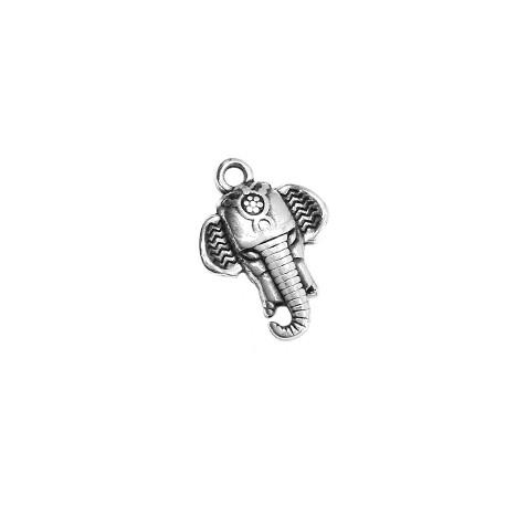 Colgante de Metal Zamak Cara de Elefante 16x18mm