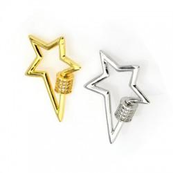 Cierre de Metal Latón con Rosca Estrella con Circon 22x27mm