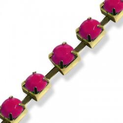 Cadena de Acero con Cabujones Acrílicos 6mm