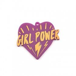 "Colgante de Metacrilato Corazon ""GIRL POWER"" 44x40mm"