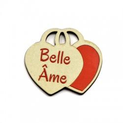 "Colgante de Madera Corazon Doble ""Belle Ame"" 39x35mm"
