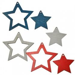 Colgante de Madera Estrella 62x59mm (set de 2 )