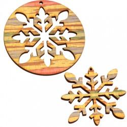 Colgante de Madera cope de nieve 75 & 60mm (set 2 uds)