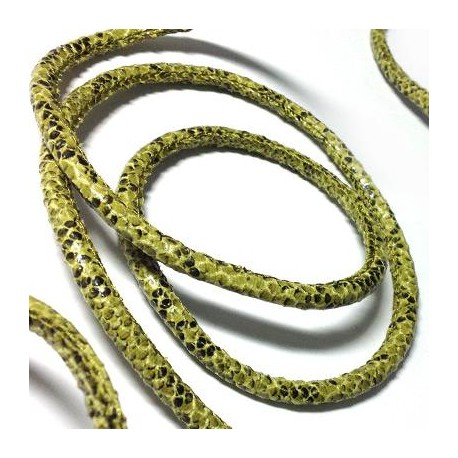 Cordón de Cuero Artificial Redondo Cosido Efecto Sepriente 5mm
