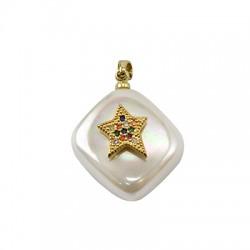 Colgante de Perla de Nacar Rombo con Estrella de Metal con Circon 15mm