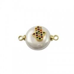Conector de Perla de Nacar Redonda con Hamsa de Metal con Circon 12mm