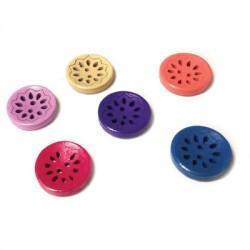 Botones de Madera Redondos Flor 18mm