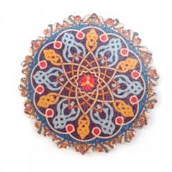 Colgante de Madera Flor con Diseños en Color 60mm