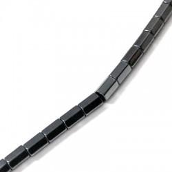 Entrepieza de Hematite Tubo Rectangular 4x6mm (~40cm/tira)