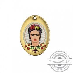 Colgante de Metal Laton Ovalado con Frida Kahlo 21x19mm