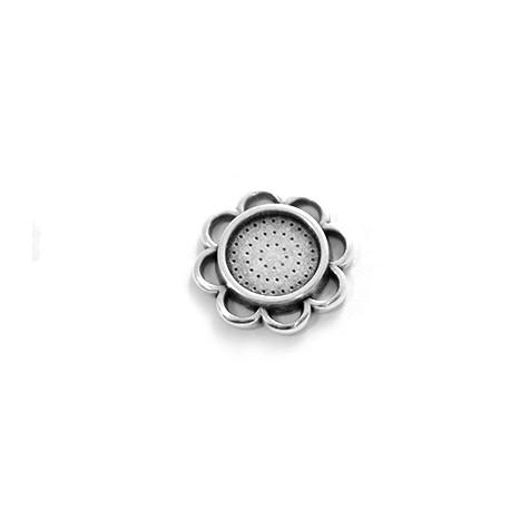 Colgante de Metal Zamak Flore 25mm con Base de Cristal Flatback